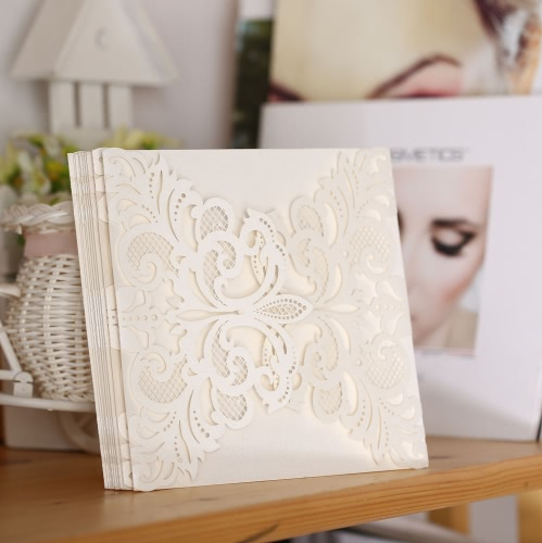 20Pcs Romantic Wedding Party Invitation Card Delicate Carved Pattern