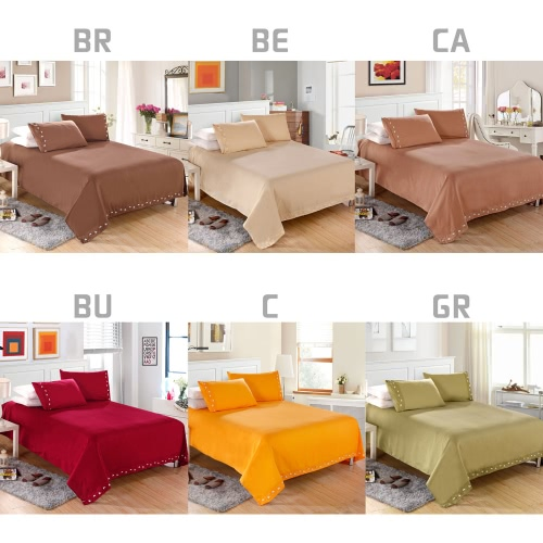 1800 Series Lux Decor Collection Solid Embroider Cording 4Pcs Bedding Set Deep Pocket Fitted Sheet Bed Cover Pillow Cases Bedclothes Home Textiles