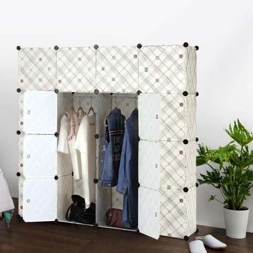 iKayaa Large Fashion Multi-use Clothes Closet Wardrobe Cabinet DIY Cloth Shoes Storage Organizer