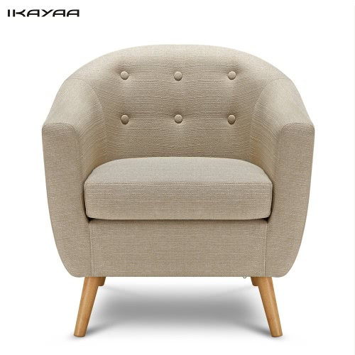 iKayaa Mid-century Linen Fabric Tufted Living Room Accent Occasional Chair Modern Armchair Single Sofa for Bedroom Hotel Lounge Furniture W/ Rubber Wood Legs