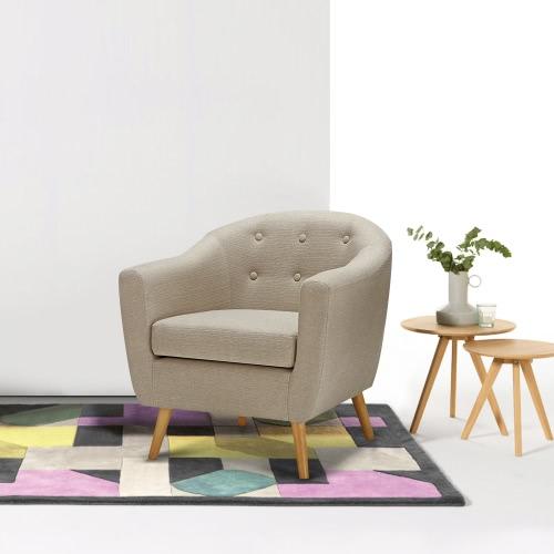 IKayaa Living Room Teal / Tejido beige Cómoda Sillón Sillón