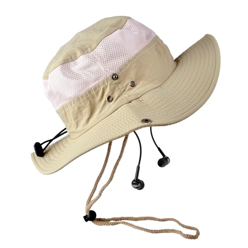 Nueva moda Unisex cuadros BT sol Sombreros Sombrero de ala grande verano BT música sombrero tapa Smart manos libres inalámbrico auriculares auricular altavoz micrófono