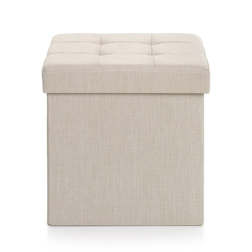 iKayaa Modern Linen Fabric Foldable Storage Ottoman Cube Foot Rest Storage Stool Box Pouffe Padded Seat Instant Coffee Table
