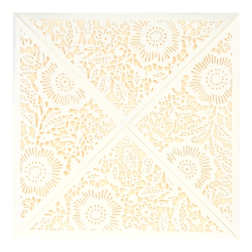 10X Laser Cut Romantic Invitation Cards Set for Wedding Bridal Shower Birthday Beige Envelope Hollow Card Holder Pink Inner Sheet Delicate Carved Pattern
