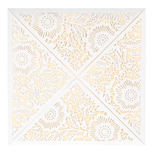 10X Laser Cut Romantic Invitation Cards Set for Wedding Bridal Shower Birthday Beige Envelope Hollow Card Holder Pink Inner Sheet Delicate Carved Pattern
