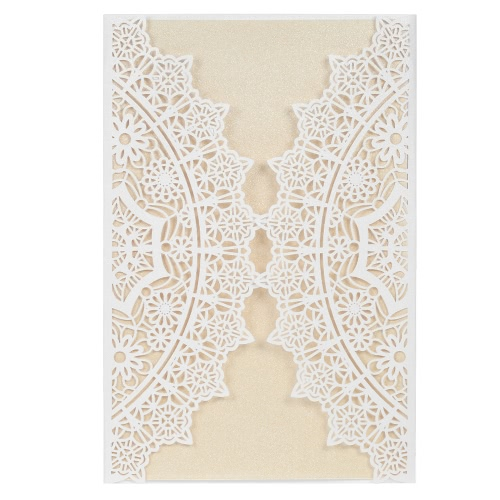 10X Laser Cut Innovative Invitation Cards Set for Wedding Bridal Shower Birthday Party Beige Envelope Card Holder Pink Inner Sheet Delicate Carved Lace Pattern