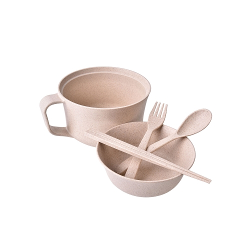 Creative Eco-Friendly Dinnerware Unbreakable Wheat Tableware RL202M Wheat Cup Bowl Wheat Straw Bowls Student Instant Noodles Bowl 5pcs/set Green