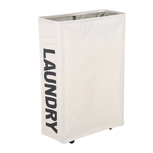 Corner Slim Foldable Oxford Cloth Laundry Basket Bin Mesh Drawstring Dirty Clothes Hamper with 4 Support Rods Universal Wheels--Beige