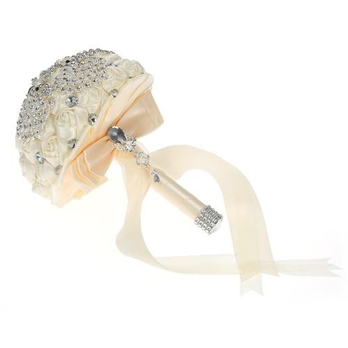 18см ручной свадебный букет Rhinestone свадебный букет атласная роза цветок для невесты свадьбы поставок - белый