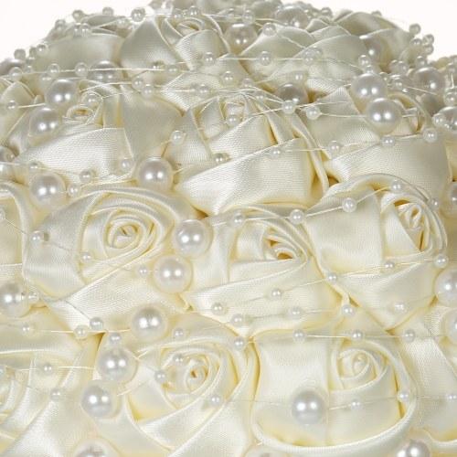 18см ручной свадебный искусственный жемчуг свадебный букет атласной розы цветок для невесты свадьбы поставок - бежевый фото