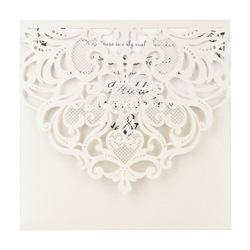 10pcs Pearl Paper Floral Invitation Cards