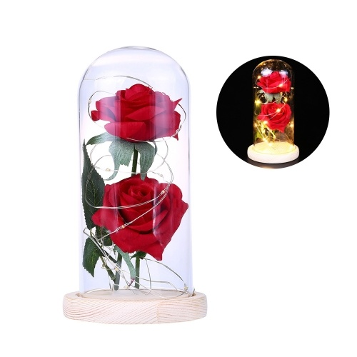Two Roses Glass Cover L-ED String Light Lámpara de mesa romántica Decoración de la boda del día de San Valentín