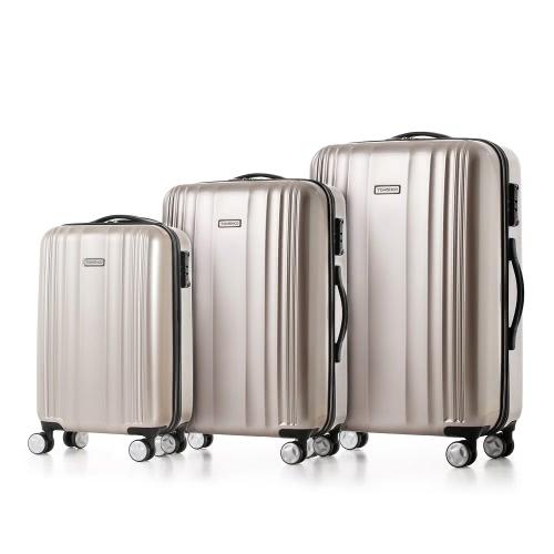 TOMSHOO lujo brillante 3PCS Juego de equipaje maleta de equipaje de la PC + ABS carro 20