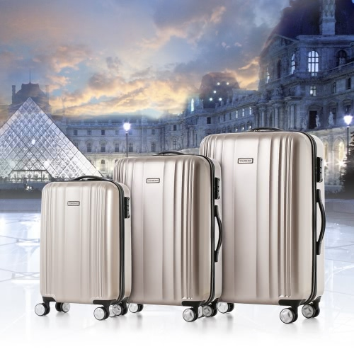 TOMSHOO Luxury Shiny 3PCS Luggage Set Carry-on Suitcase PC + ABS Trolley 20