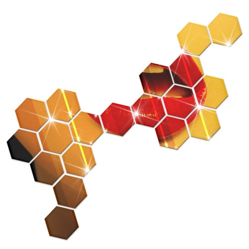 12Pcs Hot Sale Modern Design Adhesive Hexagonal 3D DIY Acrylic Wall Mirror Stickers For Room Bedroom Kitchen Bathroom Stick Decal Home Party Decoration Decor Art Mural
