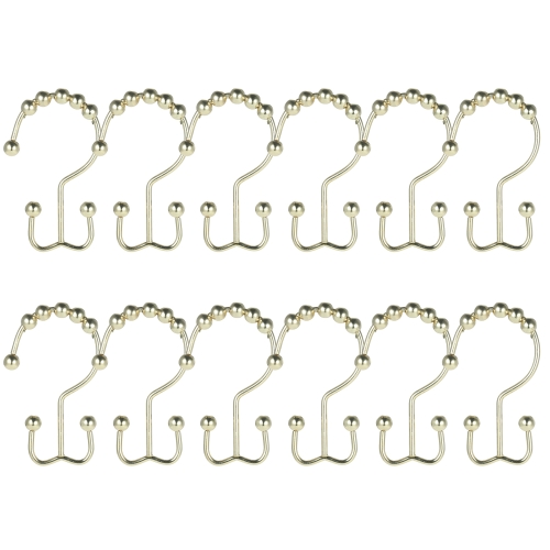 12pcs/set Double Glide Bathroom Shower Curtain Hooks Set Ball Bearing Ring Hooks Rust Resistant Multifunction Hook Rings