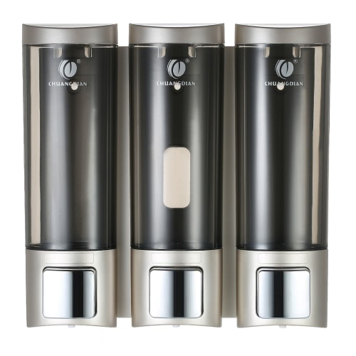 CHUANGDIAN Manual Soap Dispensers Wall-mounted Three Chamber Shampoo Box Shampoo Shower Gel Liquid Soap Dispensers Rest Room Washroom Toilet Soap Dispenser & Holder 200ml*3