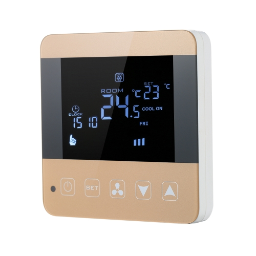 200-230V Programmable Thermostat Air Conditioner 2-pipe 4-pipe Temperature Controller LCD Touch Screen Air Heating Condition Temp