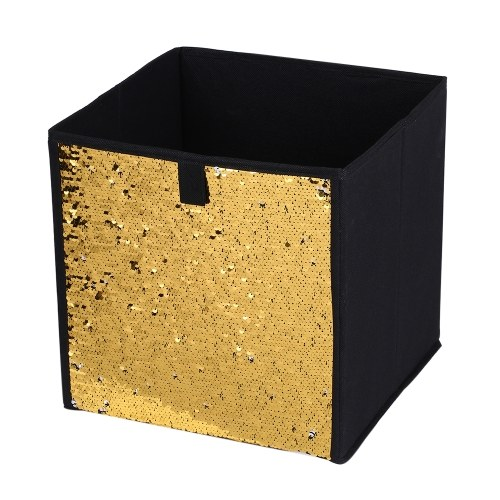 Non-Woven Folding Large Cube Storage Bin DIY Sequin Storage Box Household Toys Books Clothes Sundries Organizer--Blue