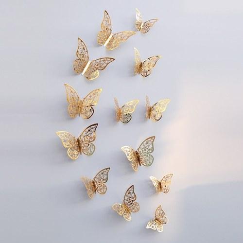 12pcs / set 3D стикеры стены бабочки Съемные наклейки наклейки DIY Art Wall Decals Decor с клеем для вечеринки для спальни - золото