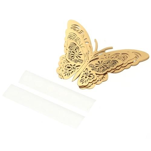 12pcs / set Vivid 3D стикеры стены бабочки Съемные наклейки Mural наклейки DIY Art наклейки декора с клеем для свадьбы спальни - золото