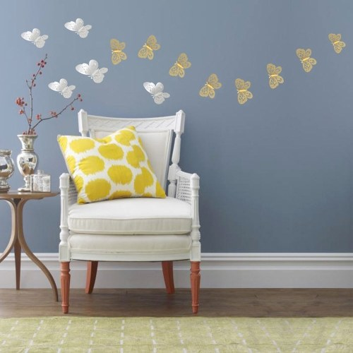 12pcs/set 3D Butterfly Wall Stickers Hollow Removable Mural Stickers DIY Art Wall Decals Decor with Glue for Bedroom Wedding Party--Gold