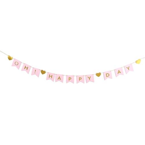ОЙ! HAPPY DAY Themed Flags Banner Декоративная бумага Баннер с 2-мя шнуром Свадебные вечеринки с днем рождения Фестивали Украшения Поставки - Золото