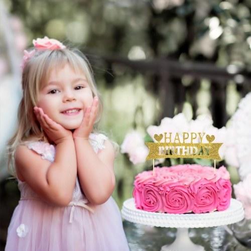 15pcs Glitter papel feliz aniversário bolo Topper