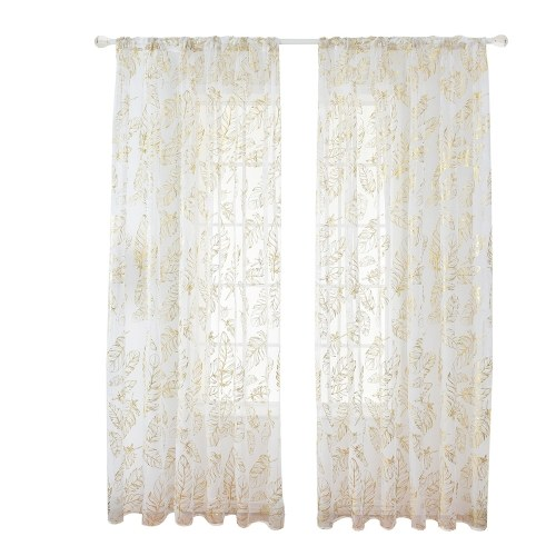 Sheer Curtains Feather Print Window Screen Curtains