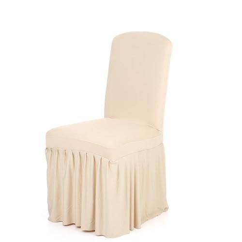 Plisado color sólido con volantes estirable extraíble lavable Inicio Silla de comedor cubierta Spandex Asientos de fundas para la boda Party Hotel Comedor