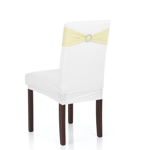 50PCS Wedding Decorations Elastic Spandex Chair Cover Sashes Bows Elastic Chair Bands With Buckle Slider Sashes Bows 7 Colors