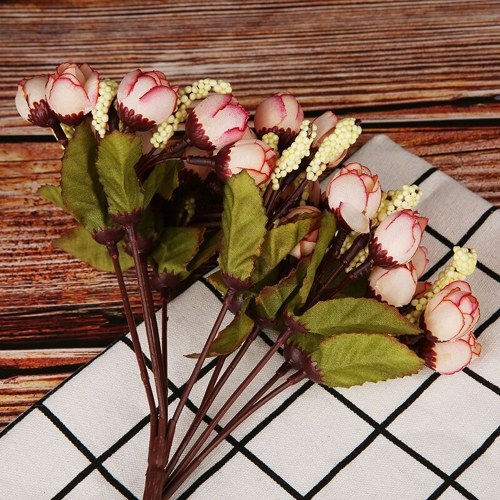 15Pcs Rose Buds Simulation Star Bracts Bouquet Silk Artificial Flowers