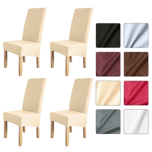 4pcs Solid Color Chair Cover Stretch Chair Protector Non-slip Removable Washable for Dining Chair Hotel Champagne