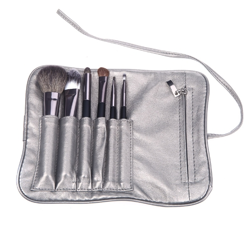 Professional Cosmetic Makeup Brush Tool Set with Roll Pouch/Bag 6 Pieces
