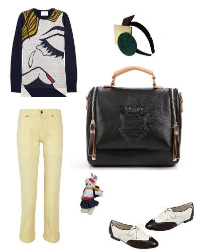 Fashion Vintage Women Handbag Crown Pattern PU Leather Shoulder Messenger Bag Black