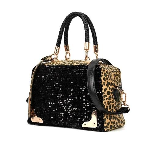 Mode Casual Women Handtasche PU Leder Leopard Print Paillette Sequin Umhängetasche Messenger