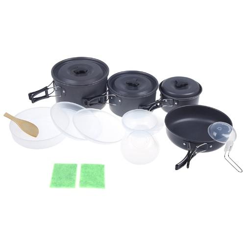 Открытый набор кемпинг Пан горшок комплект посуды посудой для 4-5 человек портативный анодированный алюминий антипригарным пикник Пешие прогулки