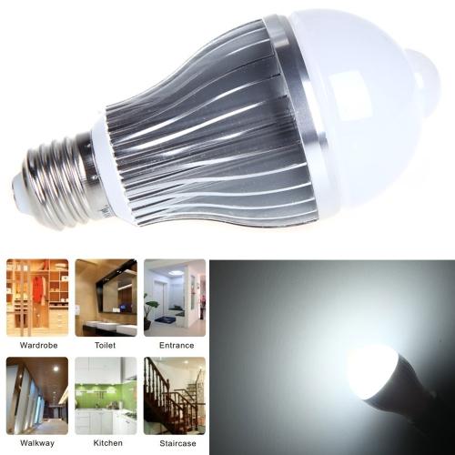 6W E27 LED Bulb Auto PIR Infrared Motion Sensor Detection Lamp White Light