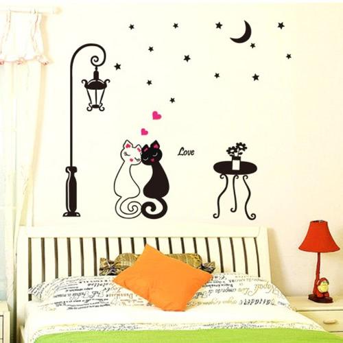 Camera decorazione coppie carine gatti Cartoon Wall Sticker bambini bambini