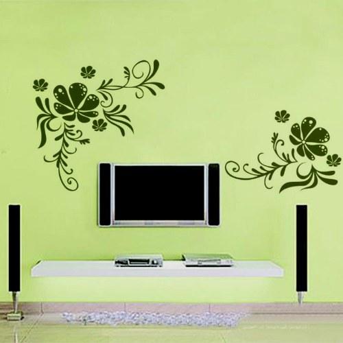 Цветы Дерево винограда Расцветание Съемный стикер стены Стенное украшение Художественный виниловый декаль Чёрный