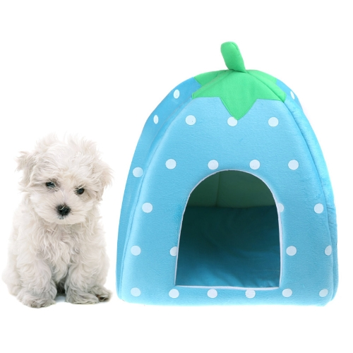 Soft Strawberry Pet Dog Cat Bed House Kennel Doggy Warm Cushion Basket Blue