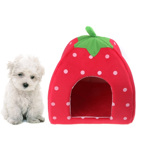 Soft Strawberry Pet Dog Cat Bed House Kennel Doggy Warm Cushion Basket Red