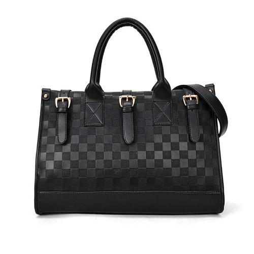 New Women Celebrity Handbag PU Leather Check Pattern Shoulder Messenger Bag OL Style Tote Black