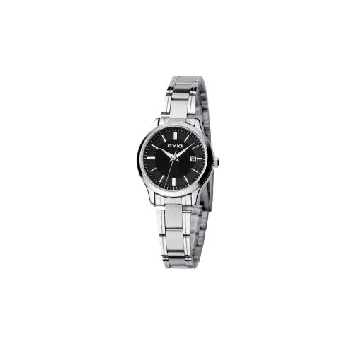 EYKI Fashion Classic Lover's Watch Table Quartz Calendar Steel Watchband EET8598 Women Female Black