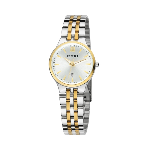 Reloj mesa cuarzo calendario luminoso Correa acero EET8615 mujeres hembra blanco de EYKI moda clásica amante