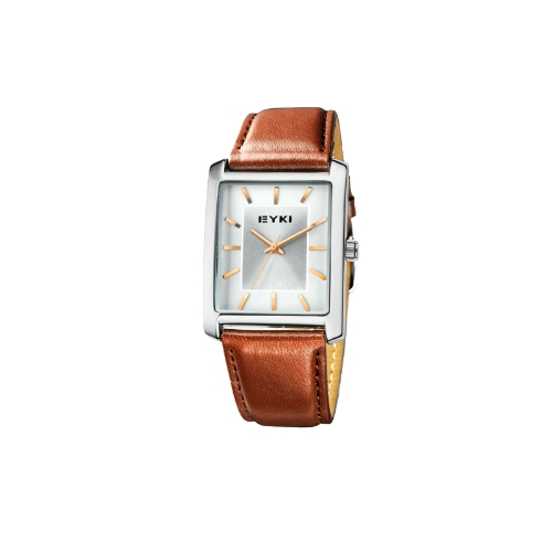 EYKI Fashion Classic Lover's Watch Table Quartz Square Dial Leather Watchband EET8618 Men Male Golden