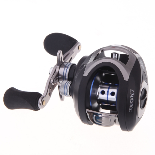 LMA200 10 + 1BB cuscinetti a sfera mano sinistra Bait Casting pesca mulinello ad alta velocità 6.3: 1 nero