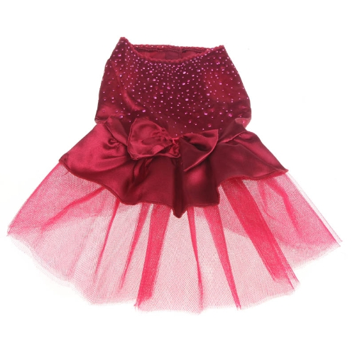 Fashion Pet Dog Clothes Skirt Dress Lovely Bowknot Apparel Costume Red