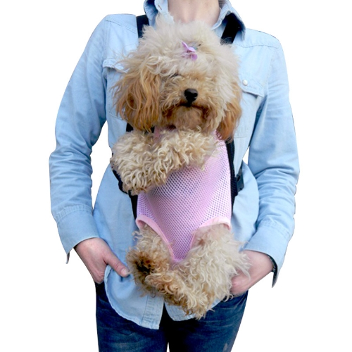 Pet Bag Dog Cat Carrier Five Holes Backpack Front Chest Backpack Pink