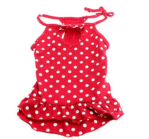 Full Spot Pattern Slim Braces Dresses Clothes for Pet Dog Doggy